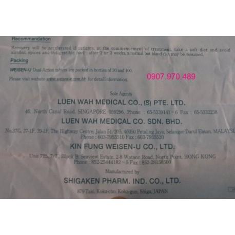 Thuốc Weisen U đặc trị viêm loét dạ dày đến từ Nhật Bản